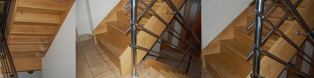 lesene hrastove stopnice na leseno konstrukcijo