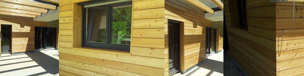 Lesena fasada iz sibirskega macesna v kombinaciji z lesnimi lepljenci