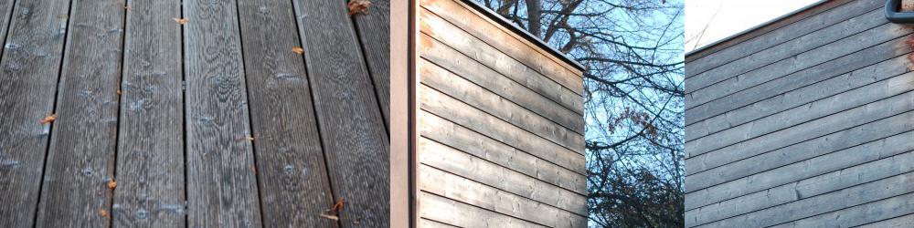 surova lesena fasada po 5 letih