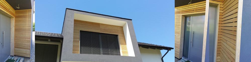 lesena fasada in balkonska vrata