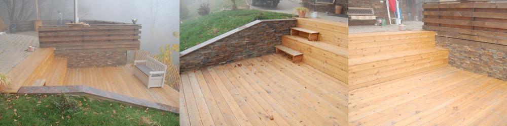 lesena terasa s stopniščem