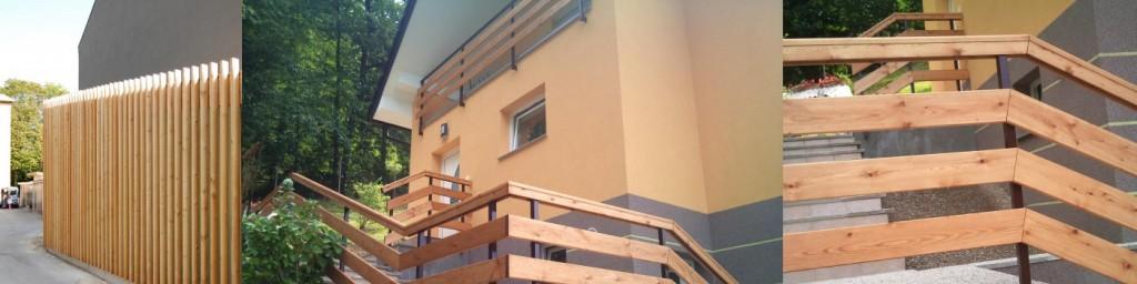 Lesena fasada in ograja iz sibirskega macesna