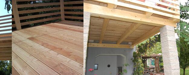 Lesena nadstrešnica – leseni balkon