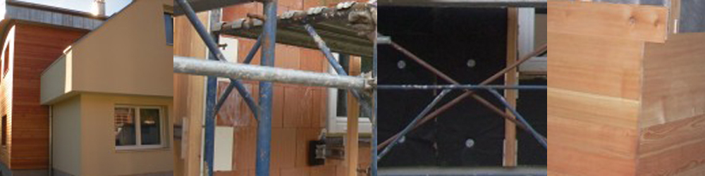 montaža lesene fasade s točkovnim sidranjem